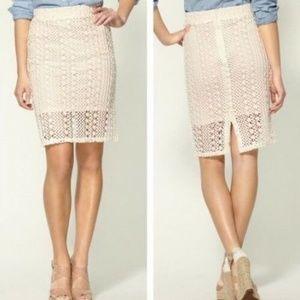 Free People Sz 6 Crochet Overlay Boho Pencil Skirt